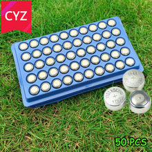 50Pcs AG13 357A A76 303 LR44 SR44SW SP76 L1154 RW82 RW42 High volume Button Cell Battery Long Lasting watch toys free shipping