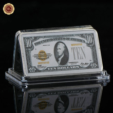 WR American 10 Dollar Currency Bill Note Silver Bar 24k 999.9 Silver Plated USD 10 Fake Bars Metal Crafts for Home Decor