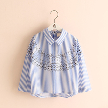 2017 Spring Summer Turn Down Collar Loose Kids Blouse Long Sleeve Girl Striped Shirt 3-4-5-6-7-8-9 Years Age Children's Clothing
