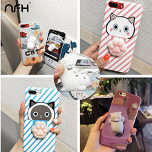 Cute 3D Cartoon Cat Claw Soft Silicone Case For iPhone 6 6S Plus Animals Kitty Seal Sea Lion Case On 5 5S 7 7 Plus Back Cover(China)