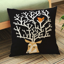 Black Color Deer Head Bird Net Sofa Throw Pillows Christmas Decorative Cotton Linen Chair Seat Cushion Home Decor 45x45cm