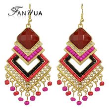 FANHUA Bohemian Jewelry Big Statement Earrings Red Hotpink Beads Geometric Dangle Chandelier Earrings For Women(China)