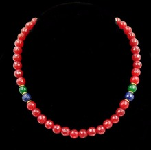 Vintage Classic Natural Stone Jewelry Fabulous Rubies Beaded Chain Choker Necklace with Sapphires and Emeralds
