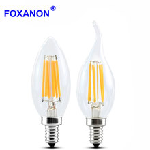 Dimmable E14 E12 E17 Filament Led Lamp 220V 110V 2W 4W 6W Led Edison Bulb Glass Dimming Filament Candle Lamps Christmas Lights