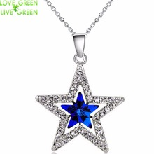 2017 fashion design women girl couple gifts 18KGP Austrian Crystal moon star sky pendant necklace fashion jewelry 80029