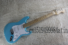 Free Shipping New Arrival ON SALE F Stratocaster Sky Blue Custom Body Maple Fingerboard Electric Guitar In Stock   @16
