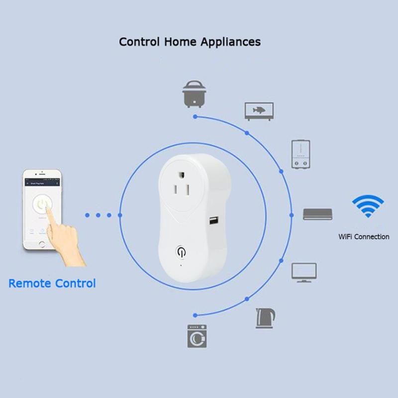 QIACHIP WIFI Smart Switch Smart Home Charging Adaoter Power Socket work with Alexa for Smartphone Home automation US Plug H2