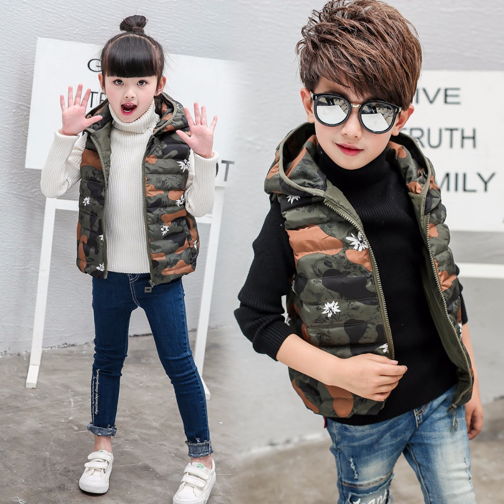 Boy and girl 2017 new vest down jacket winter for size 4 5 6 7 8 9 10 years child vest short cartoon thickening coat outerwear<br>