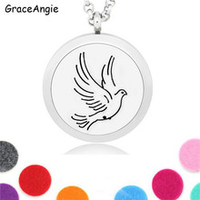 GraceAngie Women Essential Oil Scent Locket Necklace Magnetic Aromatherapy Diffuser Bird Necklace Jewelry Perfume Locket Pendant(China)