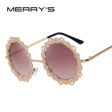 MERRY'S Women Metal Hollow Out Round Sunglasses Vintage Retro Sun glasses Fashion Lace Flower Glasses