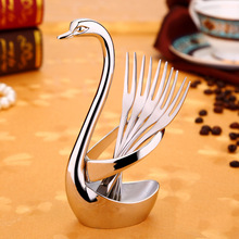 Exquisite Swan Rack Fruit Forks Restaurant Forks Elegant Tableware Practical Cake Dessert Snack Stainless Steel Forks Gift Set