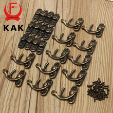 KAK 12pcs 34x28mm Antique Bronze Iron Padlock Hasp Hook Lock For Mini Jewelry Box With Screws For Furniture Hardware