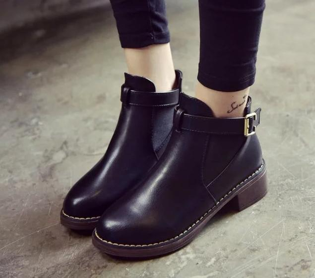 5..Womens Faux Leather Comfortable Ankle Boots Platform High Heel Booties for Women Fashion Buckle Winter Dress Shoes Black <br><br>Aliexpress