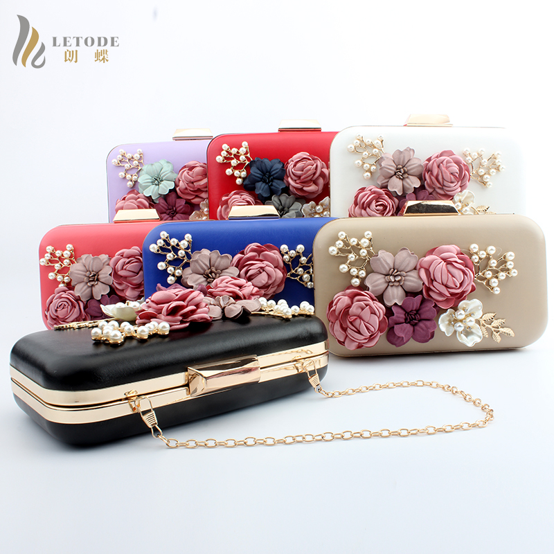 Handbag Vintage Womens Lady Bridal Evening Wedding Party Clutch Wallet Shoulder Crossbody Bag Floral Christmas Purse Prom Gift<br>