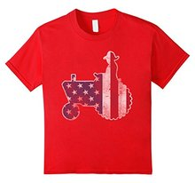 American Farmer Tractor Flag T Shirt O Neck Short Sleeves Boy Cotton Men(China)