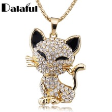 Pretty Cat Pendant For Women Filled Enamel Crystal Long Sweater Chain Necklaces Pendants Best Gift M202