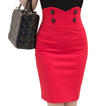 2016 Slim Fit Bodycon Tight Skirt Business Wear Buttons Big Size Ladies Office Skirt High Waist Women Pencil Skirt S2193