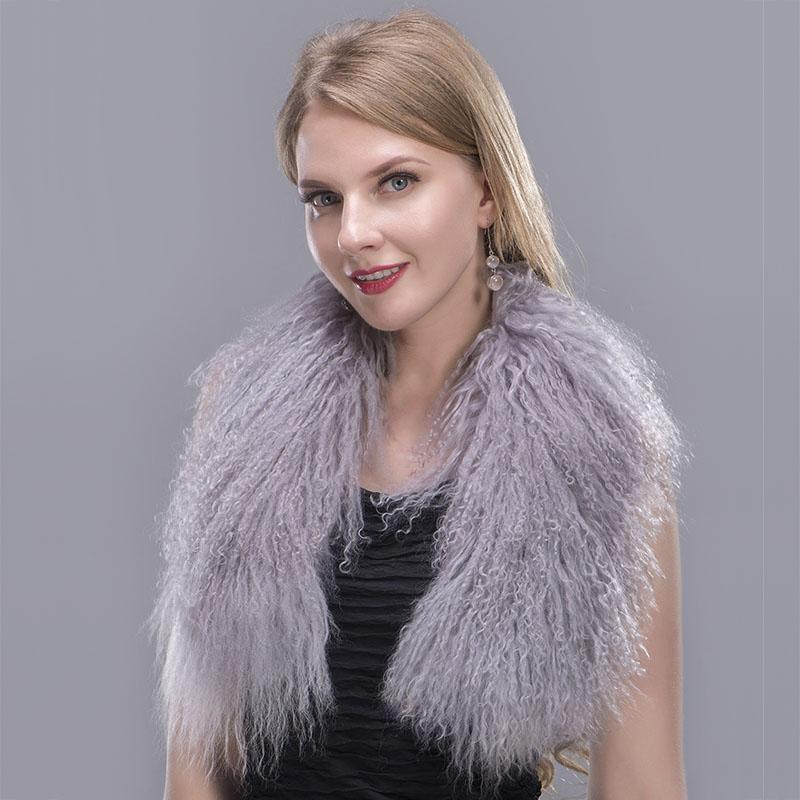 tibet lamb fur scarf grey 1