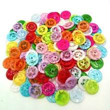 HL 100Pcs 13MM Mix color plastic buttons children's apparel supplies sewing accessories DIY scrapbooking A245(China)