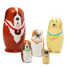 Russian Wooden Nesting Dolls Dogs Matryoshka Hand Painted Gift 5pcs Set For Children Kids(China)