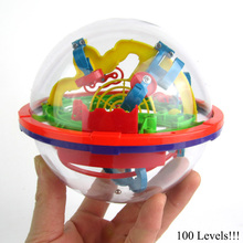 100 Levels!! 3D Labyrinth Magic Rolling Ball Perplexus Maze Ball Puzzle Cubes Children Puzzle Toy Brain Teaser Game(China)