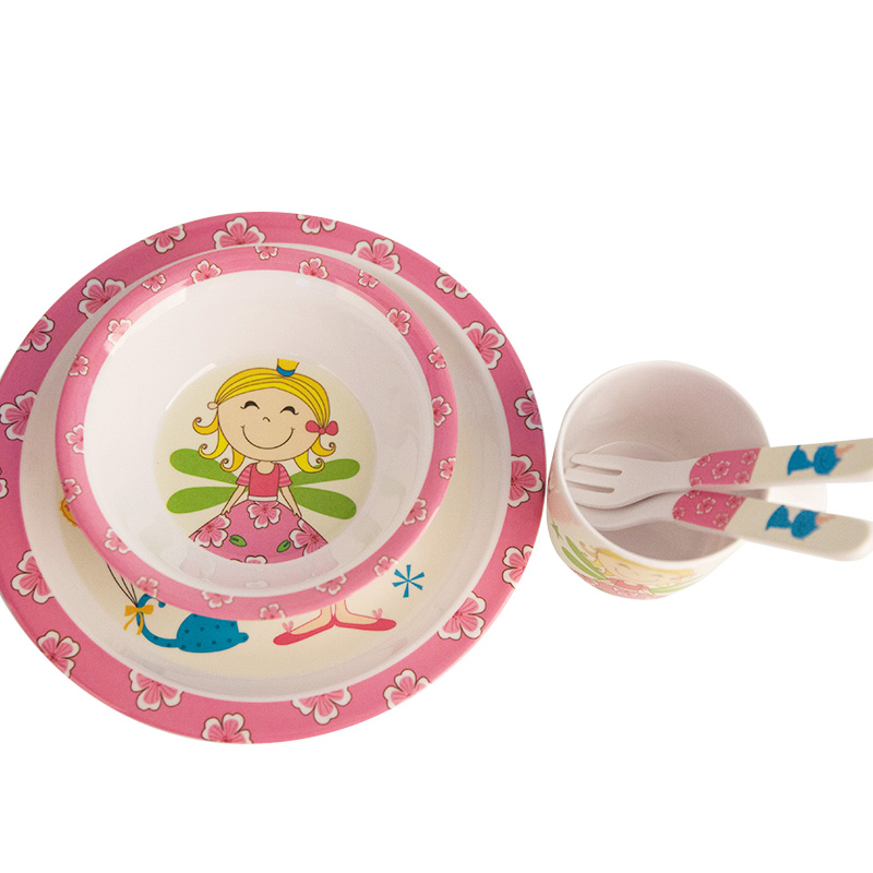 Baby Feeding Dishes Set Bowl Plate Forks Spoon Cup Children's Tableware Melamine Dinnerware Feeding Set For Kids Dishes Plate (3)