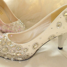 White Heel Height 5 7 8 cm Rhinestones Prom Evening Party Dress Women Lady Bridal Wedding Shoes for Prom Evening Dress