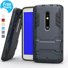 Hybrid Dual Heavy Duty Armor Stand Case For Motorola Moto X Play Case XT1563 Back Cover For Motorola X Moto Play Cases Cover(China)