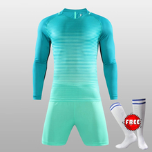 Winter Long Sleeve Mens Football Jerseys Full Set Soccer Training Teens Breathable Soccer Suit Jerseys Sports Kits Free Socks(China)