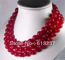 "Fashion 10mm red natural stone dyed chalcedony jades long chain strand round beads necklace for women jewelry making 50"" YE2068"