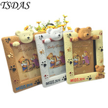 Free Shipping 1pc Baby Child Photo Frames 7 Inch Cute Bear Cartoon Frames Plastic Picture Frames 3 Colors