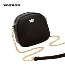 ZOORON Women Small Bag 2017 Summer New Girls PU Leather Messenger Bags Lady Circular Mini Chain Shoulder Bag Crossbody Bag