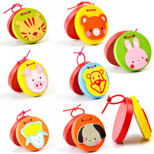 Cartoon Castanets Lovely Kids Child Baby Wooden Castanet Clapper Handle Musical Instrument Toy Preschool Early Educational Toys