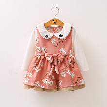 BibiCola Spring Baby Dresses Girls Toddler Flower Long Sleeves Baby Dresses Princess Style Party Clothing for Children Outfits