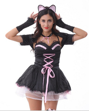 Free Shipping Hot Selling Women Cute Kitty Costumes(China)