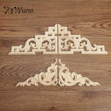 KiWarm 2Pcs/set Wood Carved Decal Corner Onlay Applique Frame for Home Door Cabinet Wall Furniture Decorative Crafts 2 Type