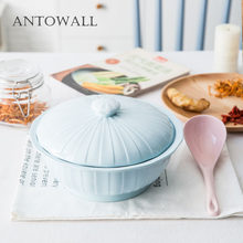 ANTOWALL Mud color 9.5inch large soup bowl with lid ceramic Japanese household 1600ml big stockpot tableware tureen soup pot(China)