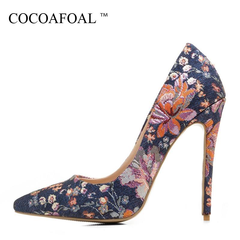 COCOAFOAL Woman Denim Pumps Plus Size 33 - 43 Fashion Sexy Ultra High Heels Shoes Blue Flower Party Stiletto 12 CM Wedding Pumps<br>
