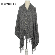FOXMOTHER 2017 New Fashion Winter Dark Grey Beige Navy Blending Color Pearl Cashmere Pashmina Scarf With Tassel(China)