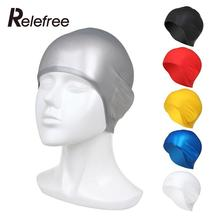 Relefree Adults Silicone 3D Plain Swimming Cap Rubber Ear Protection Pool Swim Hat(China)