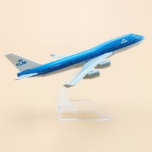 16cm Alloy Metal Air KLM Airlines B747 Aircraft Airplane Model Boeing 747 400 Airways Plane Model w Stand Crafts Gift(China)