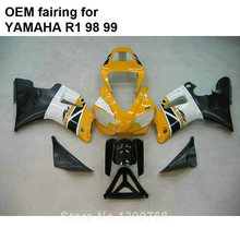 MOTOMARTS Hot body parts for YAMAHA fairings kit YZFR1 1998 1999 black yellow white injection mold fairings set YZF R1 98 99 SQ3