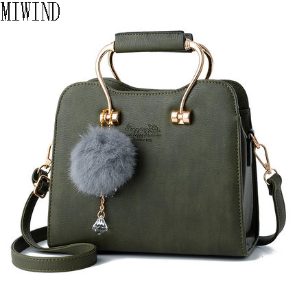 HOT SALE handbag women casual tote bag female shoulder messenger bags high quality PU leather handbag with fur ball TYX501<br>