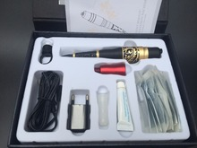 1 Set Gold Dragon Rotary Permanent Makeup Tattoo Machine Kit With Power Supply Needle Tip Compete Tattoo Kit(China)