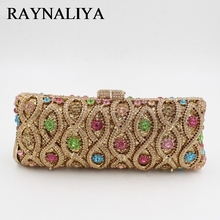 Luxury Diamond Vintage Crystal Long Shape Clutch Bag Golden Designer Women Evening Handbag Wedding Party Purses ZH-B0084(China)