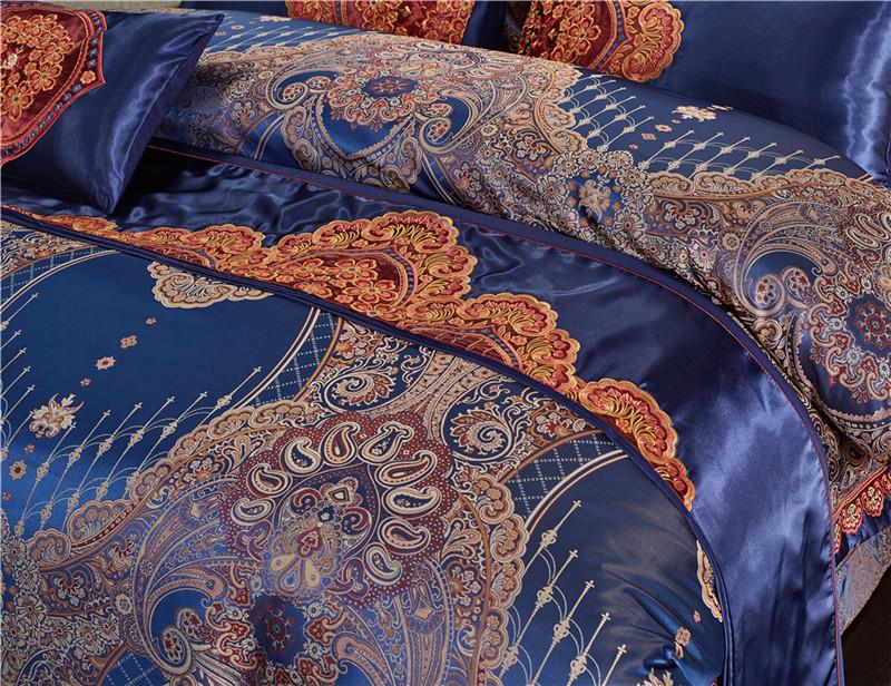 Luxury Bedding Set, Silk Satin Jacquard Bedding Set, Queen, King, Duvet Cover,Bed Linen Flat Sheet Set 26