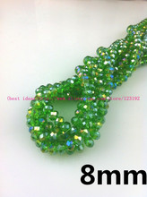350Pcs china top AAA quality crystal beads Green AB 8*6MM Faceted glass beads crystal rondelles beads(China)