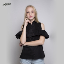 2017 YOUMI BUTTERFLY SLEEVE SHIRT BUTTON FASHION(China)