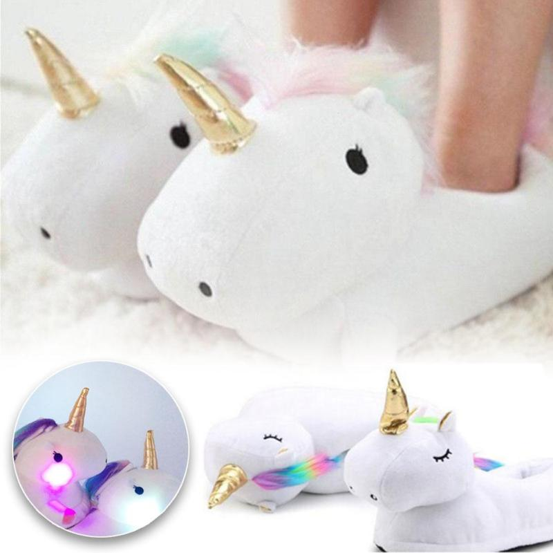 3D Unicorn Slippers with Anti-Slip Sole Indoor Warm Cute Soft Plush Gift