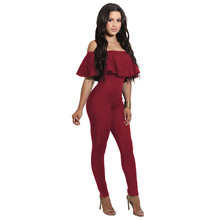 Fashion brand Rompers Womens Jumpsuit Summer Jumpsuits for Women 2017 Short Sleeve Ruffle Jumpsuit Female bodycon Overalls(China)
